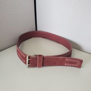 Cole Haan Double Stitch Suede Leather Belt Med